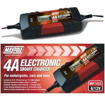 Maypole Fast Trickle Pulse Modes 4A 12V Battery Charger Smart Auto Electronic 4