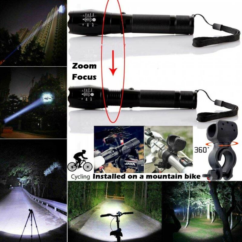 Rechargeable 350000LM Flashlight CREE T6 LED Tactical Bike Light Torch Headlamp 5