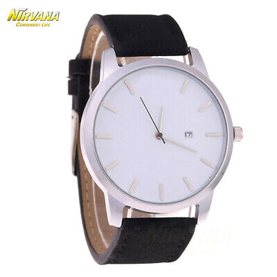 Men's Fashion Sport Stainless Steel Case Leather Band Quartz Analog Casual Watch 9