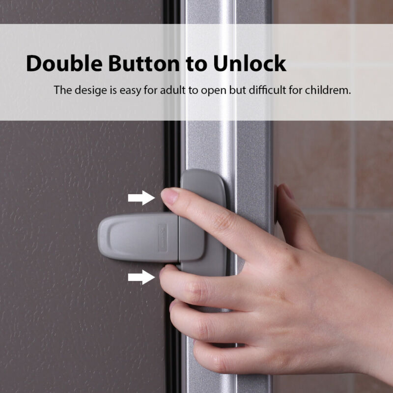Baby Child Safety Lock Proof Cabinet Window Fridge Cupboard Door Adhesive Safe 4