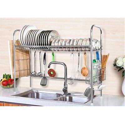 Stainless Steel Dish Rack Over Sink Bowl Shelf Organizer Nonslip Cutlery Holder 5