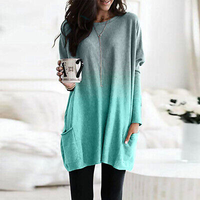 Womens Long Sleeve Baggy Tunic Tops Ladies Loose Jumper Pullover Blouse Jersey 3