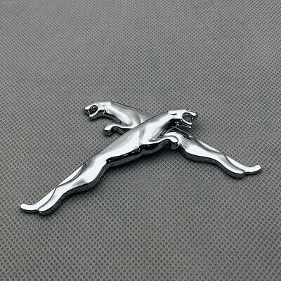 2Pcs Glossy Silver Leopard Logo Door Emblem Car Side Fender Badge Fit For Jaguar