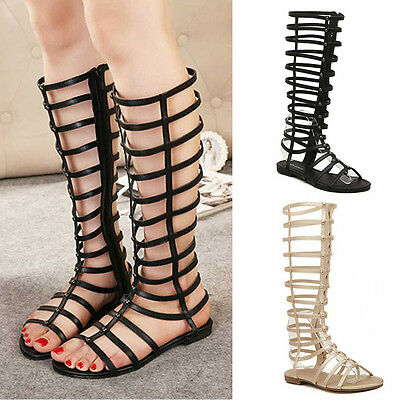 1ffabdc23823 ... Women Ladies Strappy Gladiator Cut Out Sandals Knee High Boots Flat  Summer Shoes 3