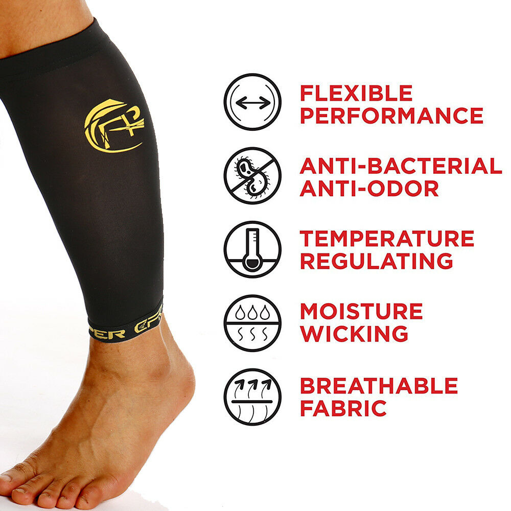 4bbc21ce12 COPPER Compression Calf Sleeve Running Leg Support Brace Sport Shin Splint  Socks 9 9 of 12 See More