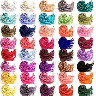 Fashion Womens Lady Girl Pashmina Warm Soft Solid Long Pashmina Shawl Wrap Scarf 2