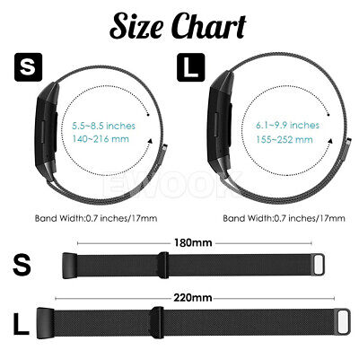 For Fitbit Charge 3 Band Metal Stainless Steel Milanese Loop Wristband Strap AU 5