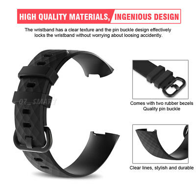 Fitbit Charge 3 Watch Band Strap Replacement Wristband Soft Silicone Bracelet 2