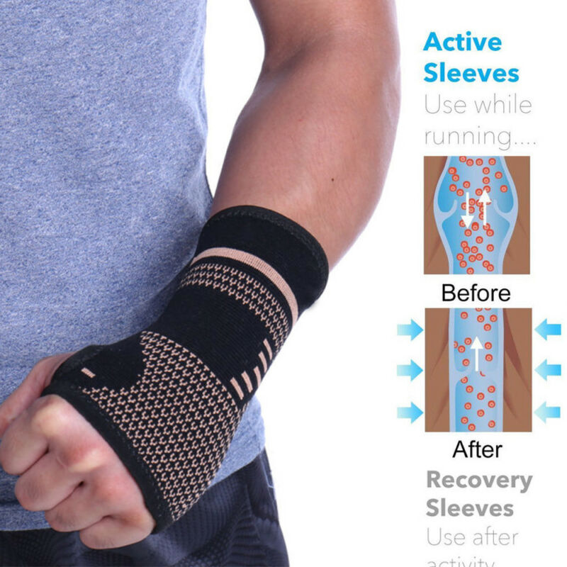 494e4f80ad Copper Infused Wrist Sleeve Hand Support Compression Brace Glove Arthritis  Wrap 7 7 of 9 See More