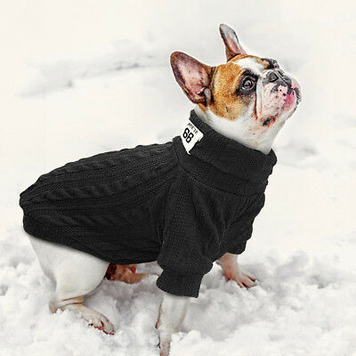 Knitted Dog Sweater Chihuahua Clothes Winter Knitwear Pet Puppy Jumper Red Black 7