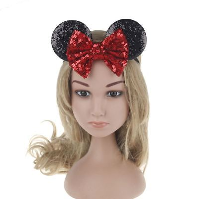 Kids Sequin MINNIE MICKEY MOUSE Headband Ears Bow Fancy Party Dress Up Accessory 5