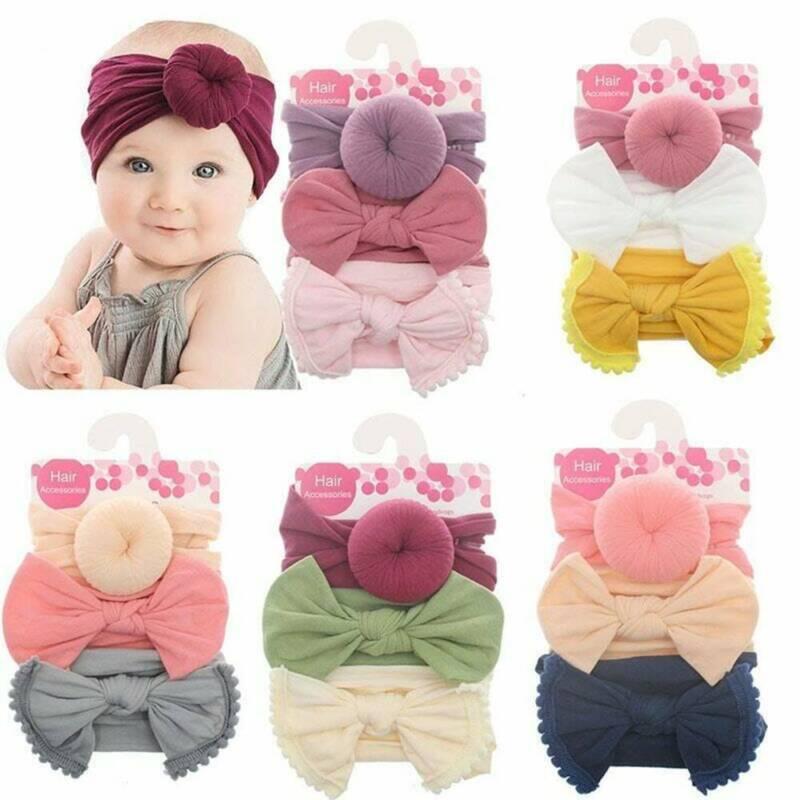 3Pc Kids Baby Girls Toddler Bow Hair band Headband Stretch Turban Knot Head Wrap 3