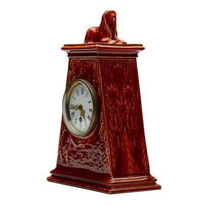 Burmantofts Faience Mantel Clock With Sphinx 6