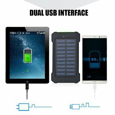 Solar Waterproof 500000mAh Power Bank 2 USB LED External Battery Fr Mobile Phone 6