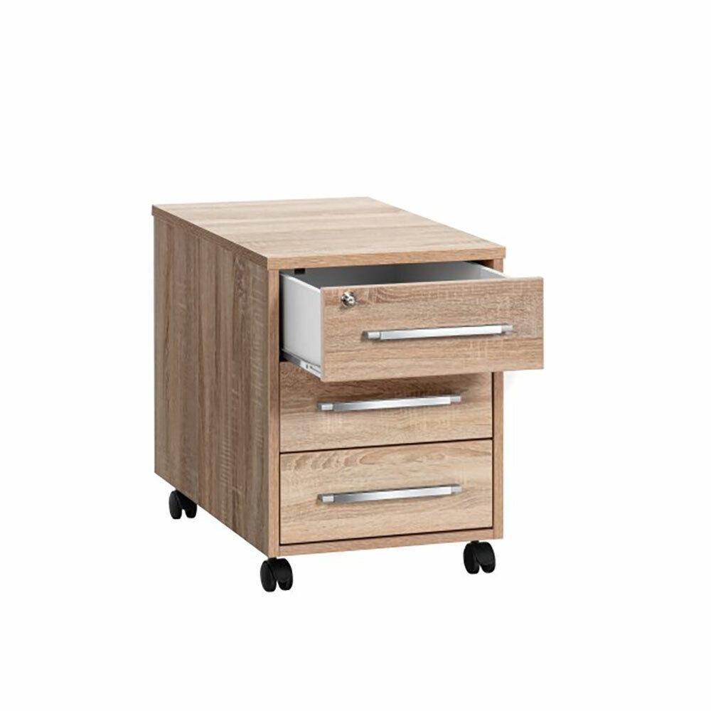 Rollcontainer Schreibtischcontainer Container Schubladen 33cm Eiche Sonoma 18487