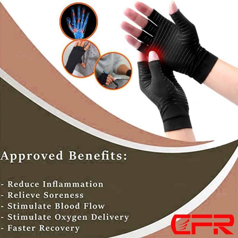 Copper Anti Arthritis Gloves Compression Hand Stiffness Carpal Tunnel Pain Brace 6
