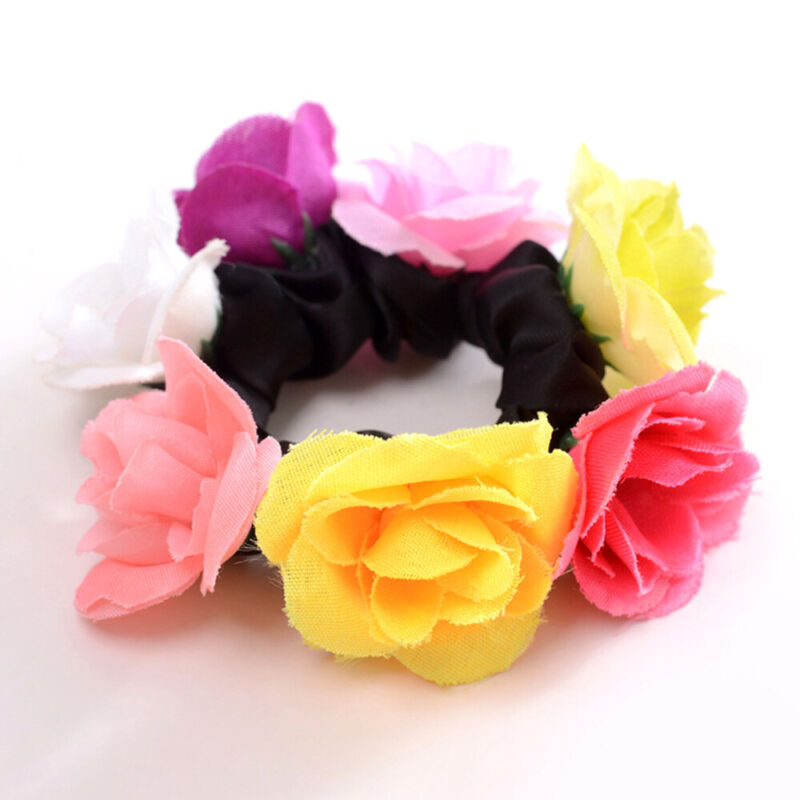 Girls Rose Flower Hair Band Elastic Rubber Hair Ties Three-dimensional Hair Rope 6