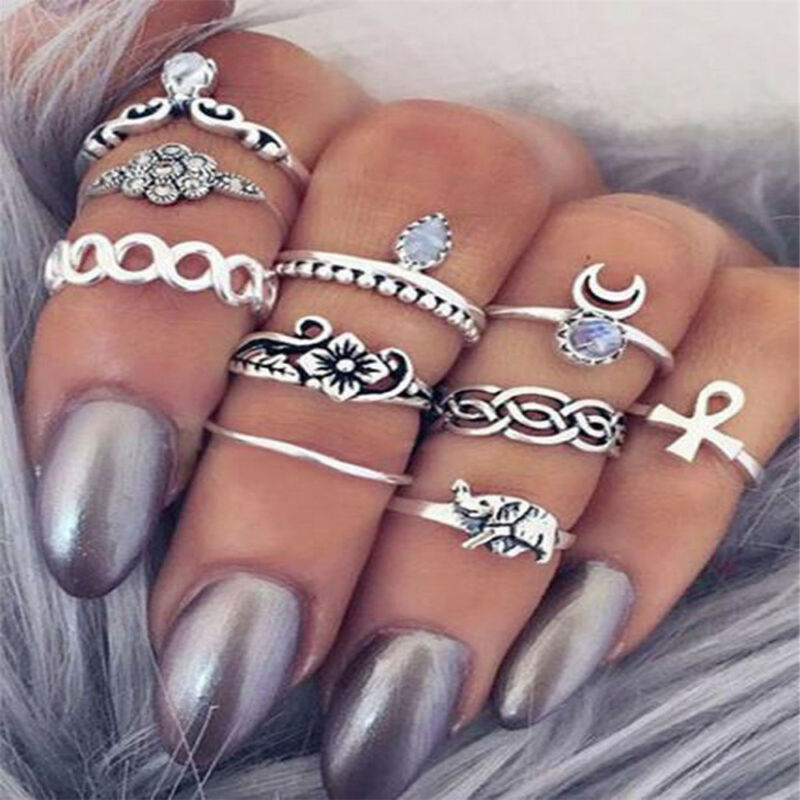 12pcs Boho Silver/Gold Stack Plain Above Knuckle Ring Midi Finger Rings Set Gift 7