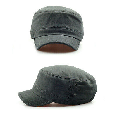 ... Unisex Mens Womens Short Brim Casual Cadet Military Cap Trucker Hats  Khaki 5 af4c1400c5a