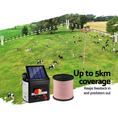 Giantz 5km Solar Electric Fence Energiser Energizer Charger 0.15J Farm Poly Tape 3