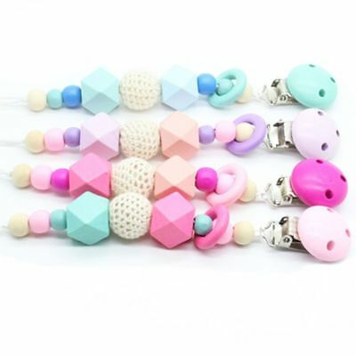 Wooden Bead Holder Soother Silicone Pacifier Clip Teethin For Baby Chew Dummy hi 6