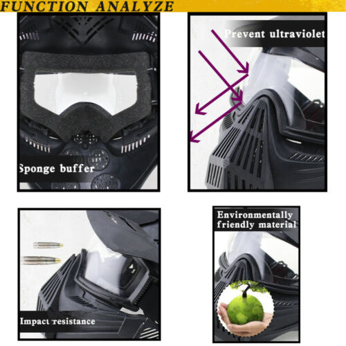 Full Face Protective Safety with Goggles Mask Tactical CS Game Paintball Airsoft 8