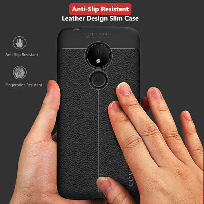 Moto G7 Power TPU Leather Case Cover Tempered Glass Screen Protector Slim Skin 5