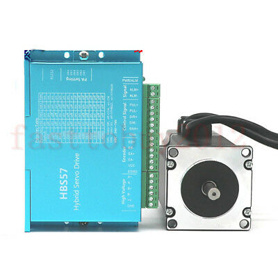 DSP Closed Loop Stepper Drive Motor 2.2NM Nema23 +200W Power Supply +3M Cables 10
