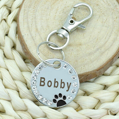 Personalized Dog Tags Paw Rhinestone Pet Cat ID Name Tag Engraved Free Hair Bows 7
