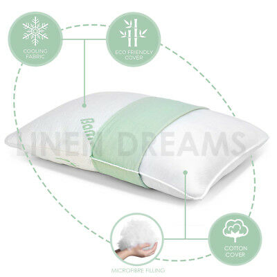 2x Aus Made Bamboo Cover Microfibre Fill Memory Resistant Family Pillow  40x70cm