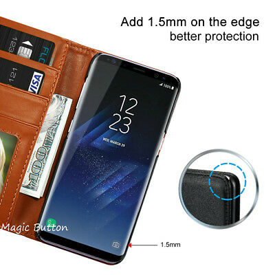 For Samsung Galaxy S9 S8 Plus S7 edge Wallet PU Leather Flip Case Card Cover 4