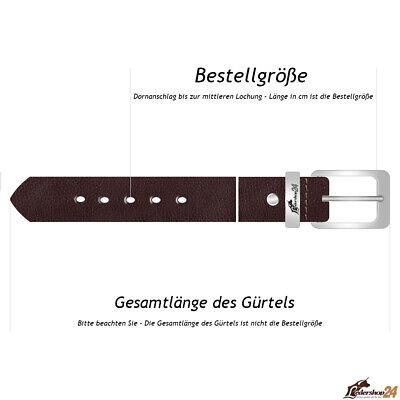 Echt Leder Gürtel 4 cm Herren Damen Ledergürtel bis 120 cm Kürzbar Jeans Schwarz 2