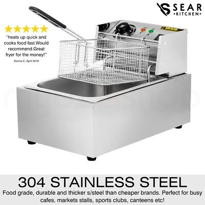 SEAR Commercial Deep Fryer Electric - Single Basket - Benchtop - Stainless Steel