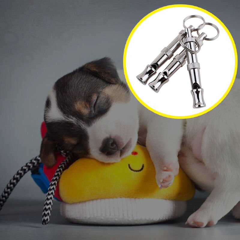 Silver  Dog Whistle to Stop Barking Bark Control Dogs Training Deterrent Whistle