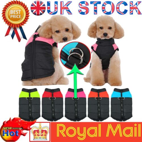 Waterproof Pet Dog Warm Padded Vest Coat Clothes Puppy Winter Jacket Apparel UK 3