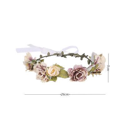Adjustable Women's Beautiful Flower Crown Headband Hair Wreath Garland Ribbon 3