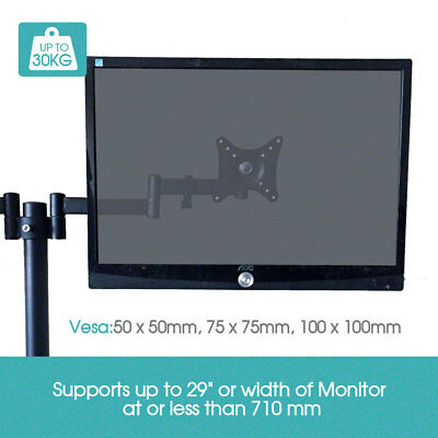"13""-29"" Dual LED monitor stand 2 arm holds two LCD screen TV desk mount bracket"