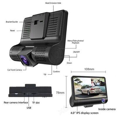"1080P Car DVR 4""Dual Lens Dash Cam Front and Rear Video Recorder Camera G-sensor 10"