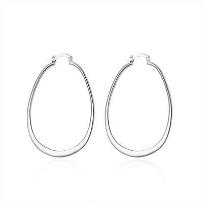 925 Sterling Silver Hoop Pierced Earrings L1 2