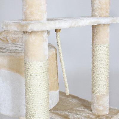 Arbre à chat griffoir grattoir blanc - beige 204cm 2