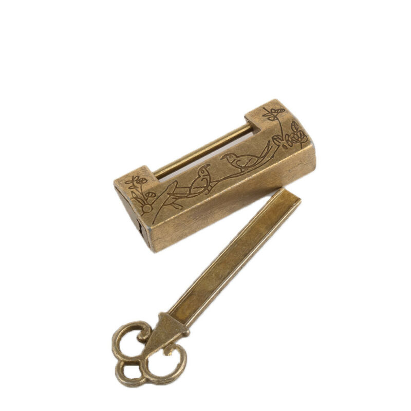 Chinese Vintage Antique Lock Old Style Lock and Key Brass Carved Word Padlock 2