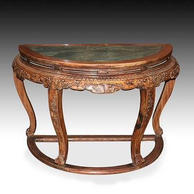 Very Rare Chinese Fine Pair Huanghuali Demilune Tables & Four Stools Hubei China 2