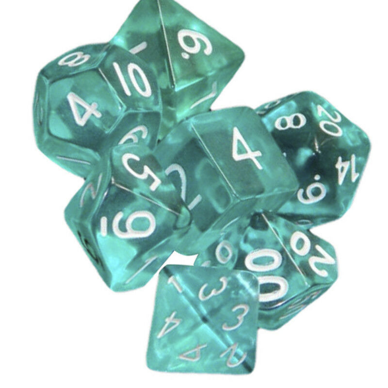 Lots 7 Piece Polyhedral Set Cloud Drop Translucent Teal RPG DnD With Dice Bag 4