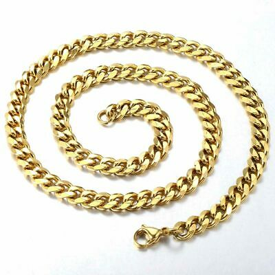 """18""""-36"""" Stainless Steel Gold Tone Chain Cuban Curb Mens Necklace 3/5/7/9/11mm 9"""