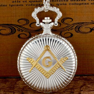 Masonic Silver & Gold Pocket Watch Compass Symbol Unknown Group Temple Lodge UK 9