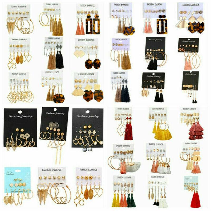 24 Pairs Fashion Rhinestone Crystal Pearl Earrings Set Women Ear Stud Jewelry 2