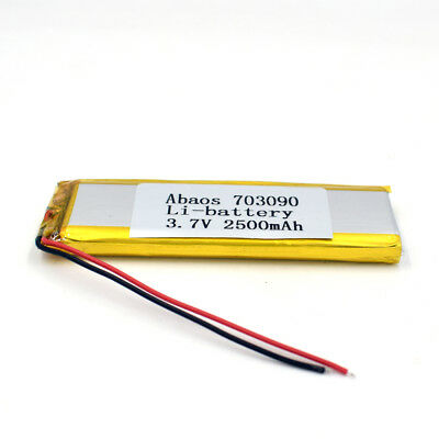 3.7V 2500mAh 703090 Li-Polymer Rechargeable Cell Li-ion LiPo Battery for GPS MP3 6
