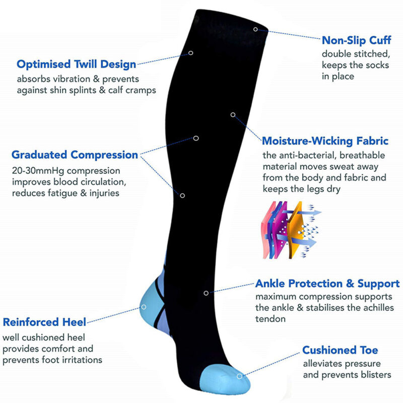 Compression Socks Copper Medical Stockings Travel Running Anti Fatigue Unisex AU 11