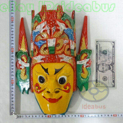 Chinese Folk Art Wood Hand Carved Painted NUO MASK Walldecor - Dixi(local drama) 10