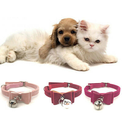 Small Pet Dog Cat Collar Leather Bow Tie With Bell Puppy Kitten Necktie Collar 9